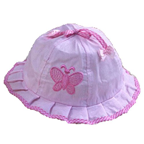 Dealzip Inc® Embroidered Butterfly with Bowtie Brim Visor Cotton Pink Bucket Sun Protection Hat Cap for Baby Kids Girls (Sun Visor Butterflies compare prices)