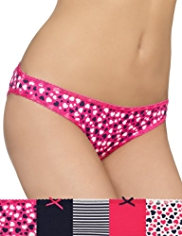 5 Pack Cotton Rich Low Rise Heart Print Bikini Knickers