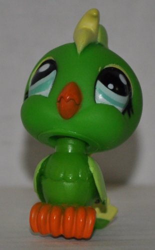 Cockatoo #1369 (Green, Blue Eyes) - Littlest Pet Shop (Retired) Collector Toy - LPS Collectible Replacement Figure - Loose (OOP Out of Package & Print) - 1