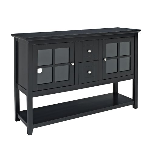 WE Furniture 52-Inch Wood Console Table TV Stand, Black