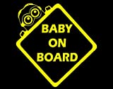Baby On Board W/ Minion (6 x 6) YELLOW Die Cut Decal Bumper Sticker For Windows, Cars, Trucks, Laptops, Etc.