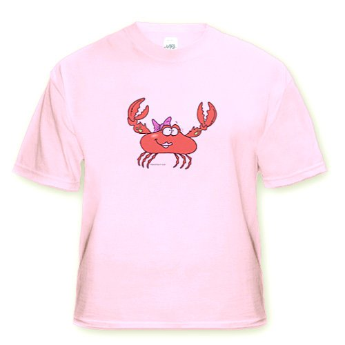 Cute and Funny Girly Girl Crab Character - Youth Light-Pink-T-Shirt Med(10-12)