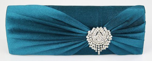 Womens Teal Blue Rouched Diamante Flower Satin Party Clutch Evening Bag KCMODE