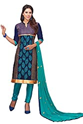 Manvaa Women's BLUE COLOUR IN CAMBRIC MULTI EMBRODIERY WORK Silk Dress Material