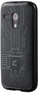 Moto G Case, Cruzerlite Bugdroid Circuit TPU Case Compatible for Motorola Moto G (2013) - Black