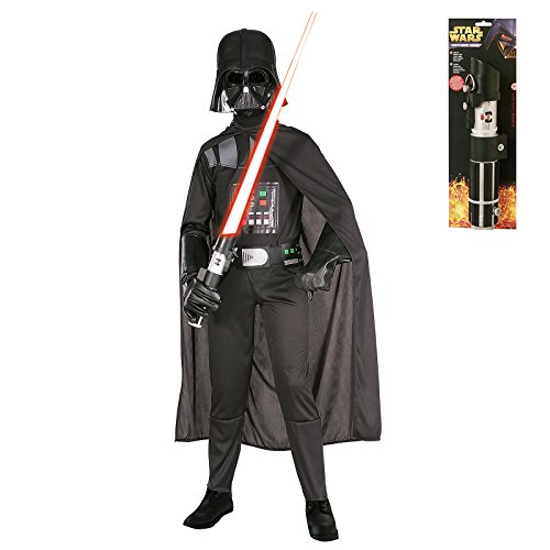 Kid's Darth Vader Star Wars Costume Set with Lightsaber - Large