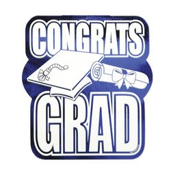 Printed Foil Congrats Grad Cutout (blue) Party Accessory  (1 count)