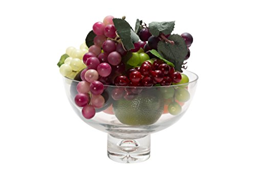 "Flower Glass Vase Decorative Centerpiece For Home or Wedding by Royal Imports - Fruit Bowl Short Stem 8"" Round, 5"" Tall"