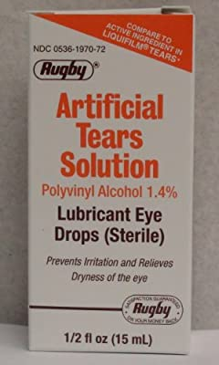 Rugby Artificial Lubricant Tears Eye Solution 0.5 OZ (PACK OF 3)