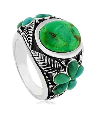 Juinsix Green Turquoise Floral Ring