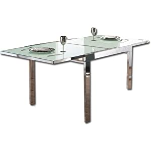 Table extensible en acier chrome 39 et verre trempe 39 amazon - Table cuisine verre trempe ...