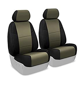 Coverking Custom Fit Front 50/50 Bucket Seat Cover for Select Toyota Highlander Models - Spacermesh 2-Tone (Taupe with Black Sides)