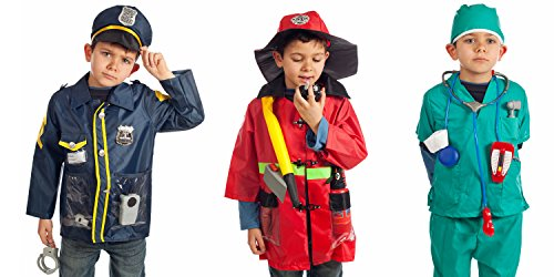 Set of 3 RESCUE Costumes Fireman Police & Doctor with Hats & over 15 accessories - 41F75hNJOHL - Set of 3 RESCUE Costumes Fireman Police & Doctor with Hats & over 15 accessories