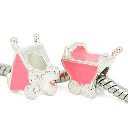 8Years 10Pcs European Charm Beads Enamel Pink Baby Carriage Fit Biagi Chamilia Troll Bracelet front-972917
