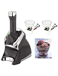 Yonanas 987 Elite Healthy Dessert Maker in Black + The Ultimate Ice Cream Book + 2-Pieces Ice Cream Bowl & Spoon by Yonanas