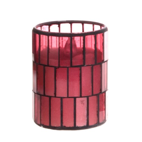 Dfl 3*4 Inch Pink Tiled Pattern Mosaic Glass With Flameless Led Candle With Timer,Work With 2 Aa Battery