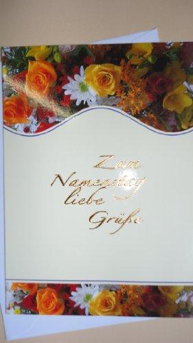 """HaWeKa Karte """"Zum Namenstag liebe Grüße"""" mit Blumen Nr.795."""