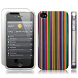 iPhone 4s/iPhone 4 Coloured Stripes Cover and Screen Protector PART OF THE QUBITS ACCESSORIES RANGEby Qubits