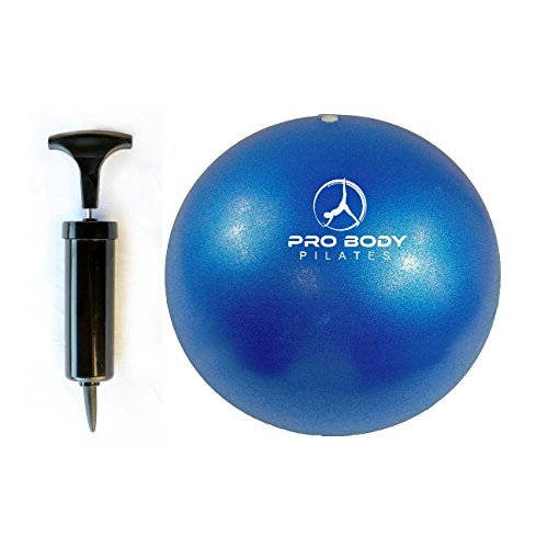 Mini Exercise ball - Premium 9-Inch Stability Ball for Pilates, Yoga, Barre, Training and Physical Therapy (Blue (Pump))