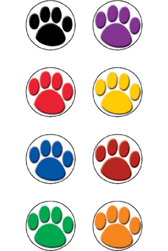20 Pack TEACHER CREATED RESOURCES COLORFUL PAW PRINTS MINI STICKERS
