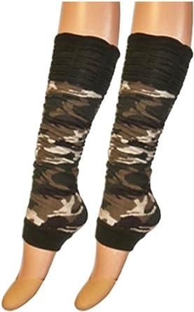 LADIES LEG WARMERS FANCY DRESS NEON TUTU CAMOUFLAGE ANIMAL LEOPARD 1 SIZE DANCE[ARMY PRINT,LEGWARMER]