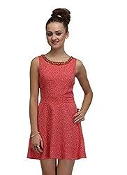 IRALZO Sleeveless Printed Skater Dress With Embellishment