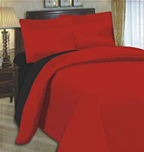 4PC COMPLETE REVERSIBLE BLACK / RED SINGLE DUVET COVER & FITTED SHEET BED SET by Viceroybedding by Viceroybedding