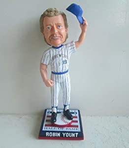 Robin Yount Milwaukee Brewers Cooperstown Collection HOF Logo Base Bobble Head by My Sports Shop