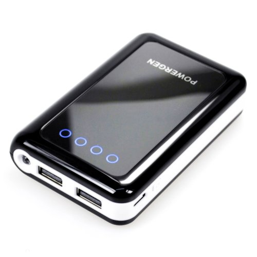 PowerGen Mobile Juice Pack 8400mAh External Battery Pack High Capacity Power Bank Charger Dual USB output for Apple iPhone 4s 4 3Gs 3G, iPod Touch, iPad 2, The New iPad 3/ HTC sensation, XE, XL, One X S, Thunderbolt, Inspire 4G , EVO 3D, EVO 4G, Desire S Z HD / Samsung Galaxy S3 S2 S 2 II ACE Mini, S Advance, Galaxy Nexus, Nexus 7 / Motorola: Atrix 2, Droid 3 X X2 Razr Bionic, Triumph