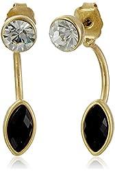 NINE WEST VINTAGE AMERICA Royal Flush Gold-Tone and Black Floater Earrings