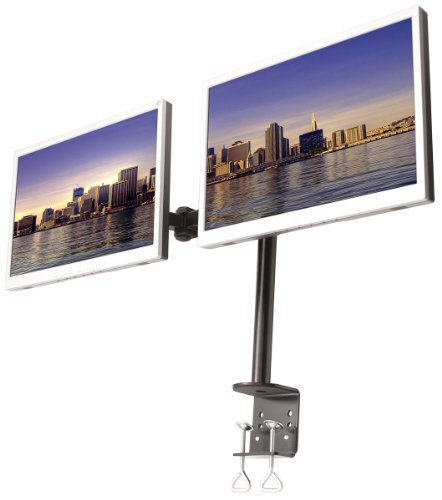 Monmount Dual Lcd Monitor Stand Desk Clamp Holds Up To 24-Inch Lcd Monitors, Black (Lcd-194B)
