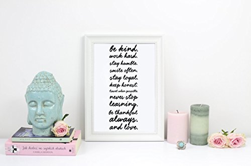 Be Kind, Work Hard, Stay Humble, Typography Print, Inspirational Poster, Wall Art, Positive Quotes, Typographic Poster, black and white, 5x7 (Stay Positive Poster compare prices)