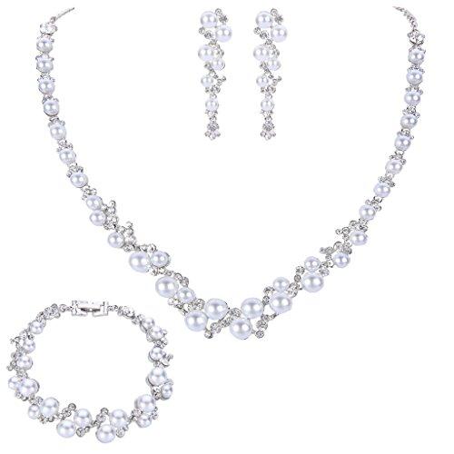 EVER FAITH Simulated Pearl Crystal Bridal Necklace…