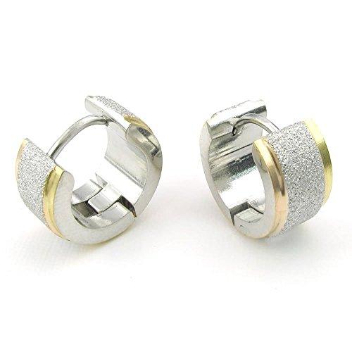 Konov Jewellery Mens Stainless Steel Stud Huggie Hoop Earrings Set, Silver Gold (with Gift Bag)