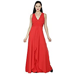 SVT ADA COLLECTIONS GEORGETTE RED COLOR DESIGNER PARTYWEAR ELEGANT GOWN (025101M_Red_Medium)