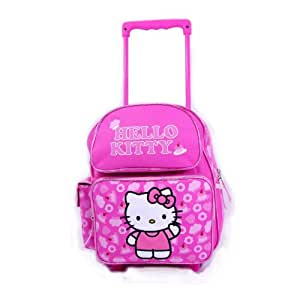 Hello Kitty Deal - Sanrio Hello Kitty Signature Pink Bow Large Rolling Backpack and Matching Hello Kitty Insulated Lunch Bag Set