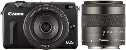 Canon ミラーレス一眼カメラ EOS M2 ダブルレンズキット(ブラック) EF-M18-55mm F3.5-5.6 IS STM EF-M22mm F2 STM付属  EOSM2BK-WLK