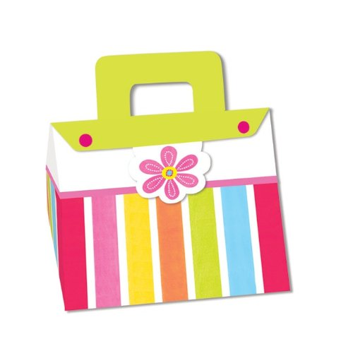 Creative Converting Pink Flower Cheer 4 Count Purse Treat Boxes