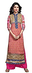 Atisundar Women Faux Georgette Dress Material (6666_30_48011 _Pink And Beige _30)