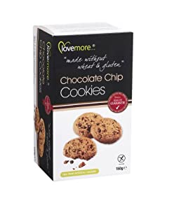 Lovemore Gluten-Free Chocolate Chip Cookies 150g 9 Biscuits per pack  (Case of 12, Total of 108 Choc chip Cookies)