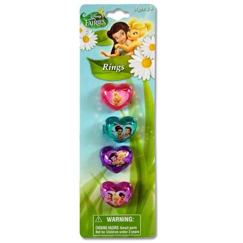4pk Disney Fairies Tinkerbell Plastic Rings