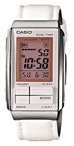 Casio #LA201WBL-7A Women's Futurist Leather Band Alarm Chronograph Digital Watch