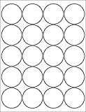 """(6 SHEETS) 120 2"""" ROUND CIRCLE WHITE STICKERS FOR LASER & INKJET PRINTERS - STANDARD SIZE 8-1/2X11 SHEETS"""