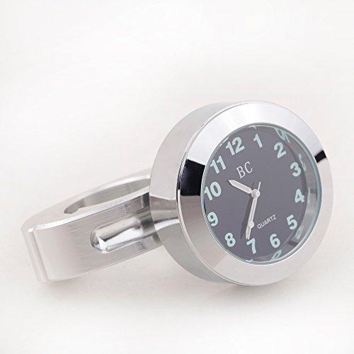 KKmoon Motorrad Lenker Uhr für Harley Chopper Touring 0,9 Zoll Silber