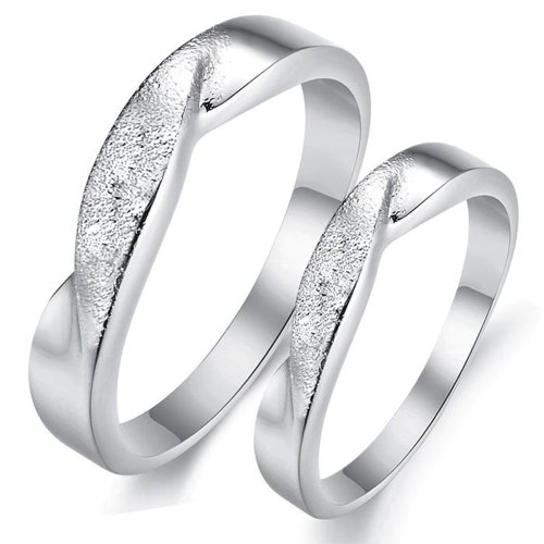 Fashion Rhinestone White Gold Plated Couple Lovers Ring Set Jewelry Wedding 919 (Women's Rings, 6.5)