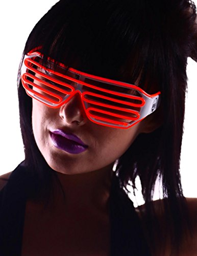 Emazing Lights Light Up EL Wire Shutter Rave Glasses (Red)