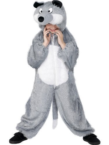 [Child's Girls Boys Kids Big Bad Wolf Wild Animal Book Day Halloween Grey Onesie Jumpsuit Fancy Dress Up Costume Outfit 7-9 years by Fancy] (Big Bad Wolf Outfit)