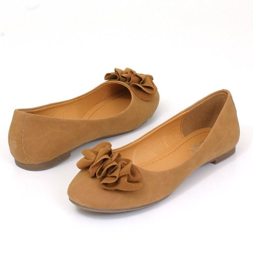 Womens Ballet Flats Casual Comfort Shoes With Floral Design Ballerina Faux Suede Upper Rubber Sole Rounded Toe 4 Colors