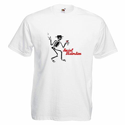T-shirt Uomo - Social Distortion maglietta con stampa 100% cotonee LaMAGLIERIA,L,Bianco