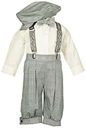 Toddler Boys Knicker Set with Suspenders and Hat - Vintage Tan Plaid Weave 4T